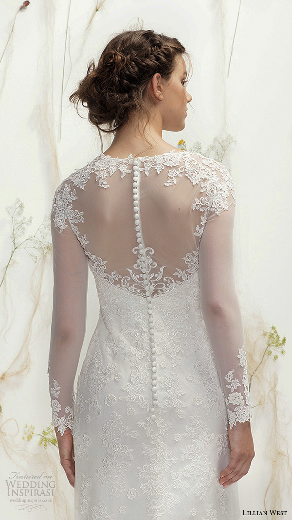 lillian west spring 2016 bridal long illusion lace sleeves jewel neckline sweetheart cutout fit to flare wedding dress illusion lace back style 6378