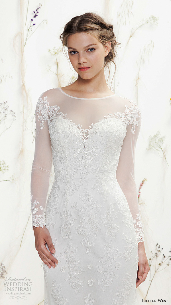 lillian west spring 2016 bridal long illusion lace sleeves jewel neckline sweetheart cutout fit to flare wedding dress style 6378