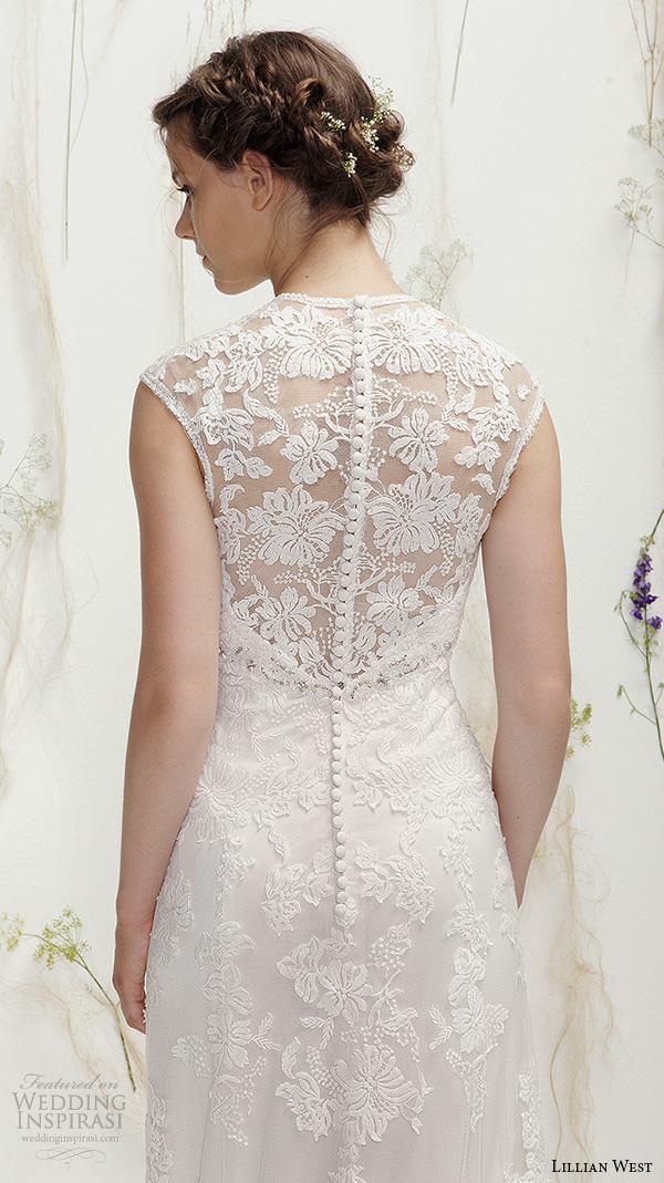 lillian west spring 2016 bridal sleeveless v neckline lace embroidered beautiful sheath wedding dress style 6392  lace back