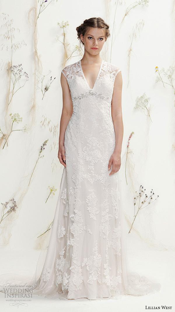lillian west spring 2016 bridal sleeveless v neckline lace embroidered beautiful sheath wedding dress style 6392