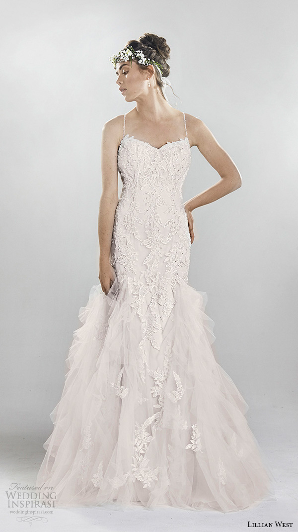 lillian west spring 2016 bridal spagetti strap sweetheart neckline beaded lace embroidery tulle layered mermaid wedding dress style 6400