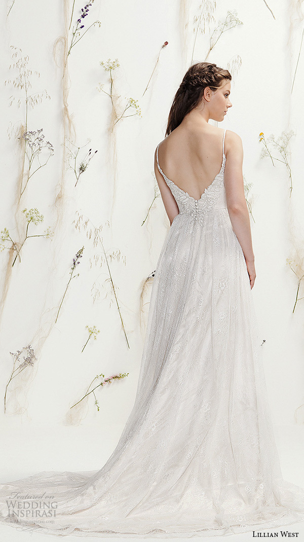 lillian west spring 2016 bridal spagetti strap sweetheart neckline lace embroidery pretty a  line wedding dress style 6395