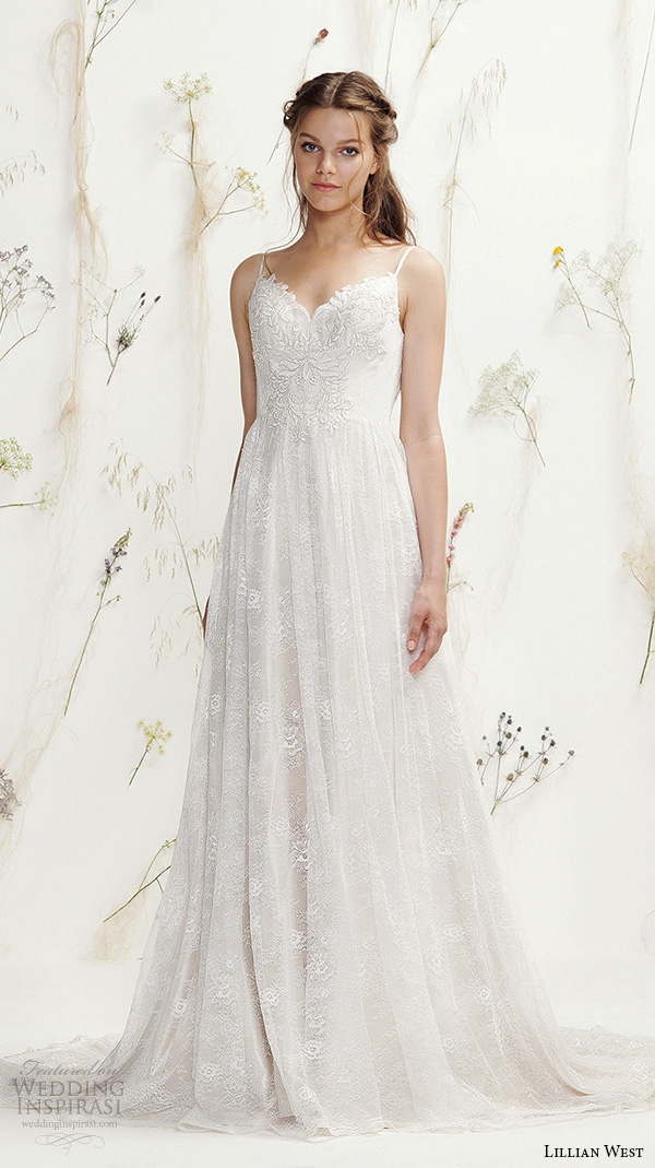 Lace Wedding Dresses With Straps 77 Simple lillian west spring bridal