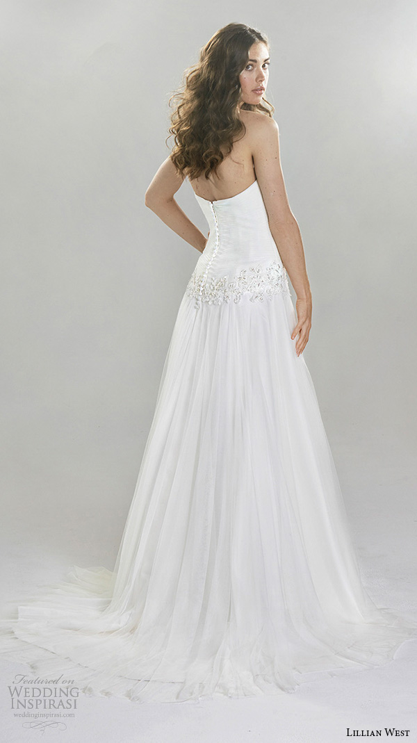 lillian west spring 2016 bridal strapless straight across neckline drop waist modified a  line wedding dress style 6397