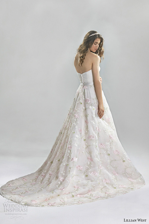 lillian west spring 2016 bridal strapless sweetheart neckline flora embroidery beautiful a  line wedding dress style 6391