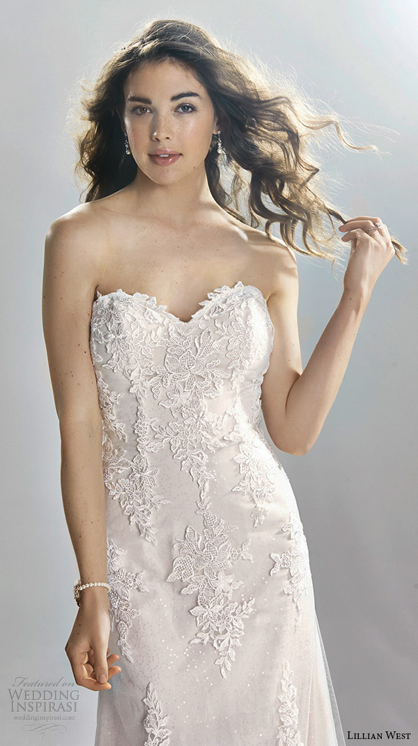 Lillian West Spring 2016 Bridal Strapless Sweetheart Neckline Lace  Embroidery Beautiful Sheath Wedding Dress Style 6393
