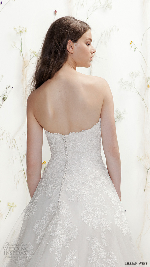 lillian west spring 2016 bridal strapless sweetheart neckline lace embroidery bodice tulle beautiful a  line wedding dress style 6394