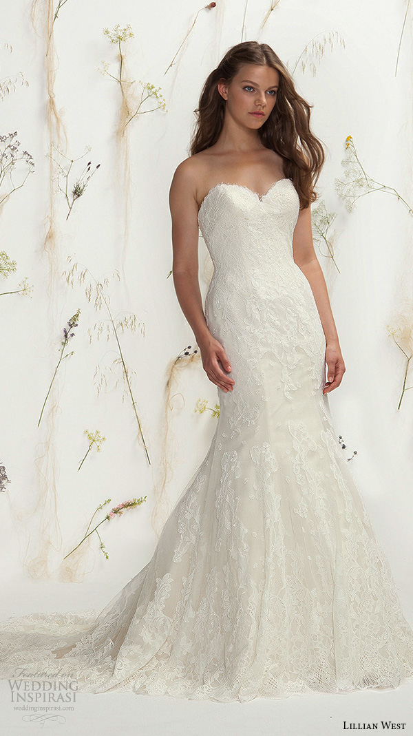 lillian west spring 2016 bridal strapless sweetheart neckline lace embroidery fit to flare beautiful mermaid wedding dress style 6399