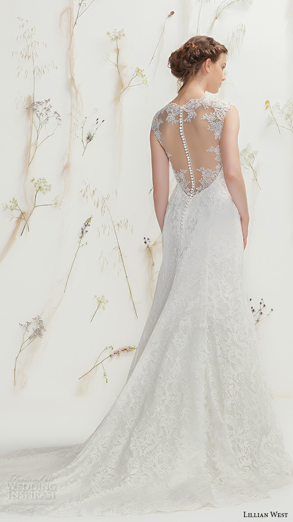 lillian west spring 2016 bridal thick lace strap v neckline lace embroidery sheath wedding dress with train illusion lace back style 6370