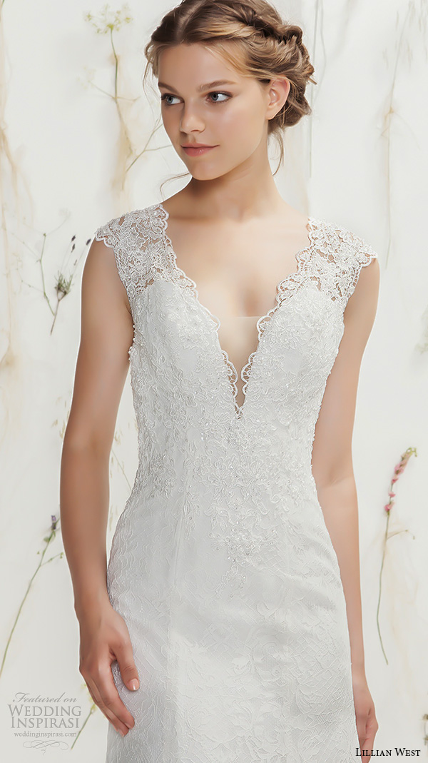 Lillian West Spring 2016 Bridal Thick Lace Strap V Neckline Embroidery Sheath Wedding Dress With