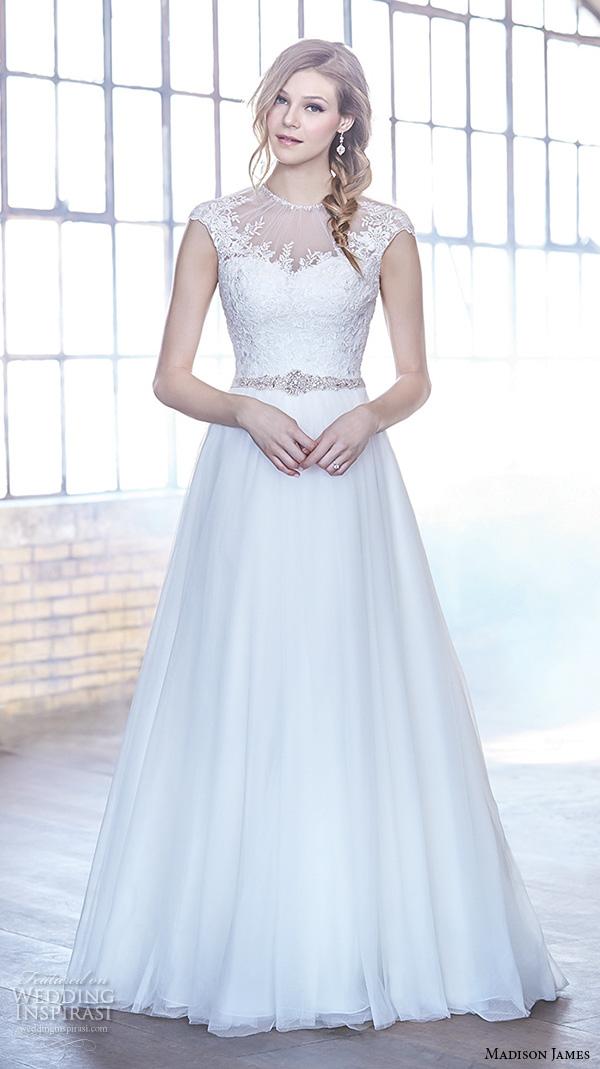 Cap Sleeve A Line Wedding Dress 84 Cool madison james fall bridal