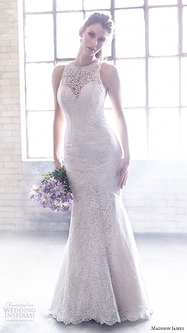 ec3a602a3235 madison james fall 2015 bridal halter jewel neck sleeveless lace embroidery  beautiful trumpet mermaid wedding dress