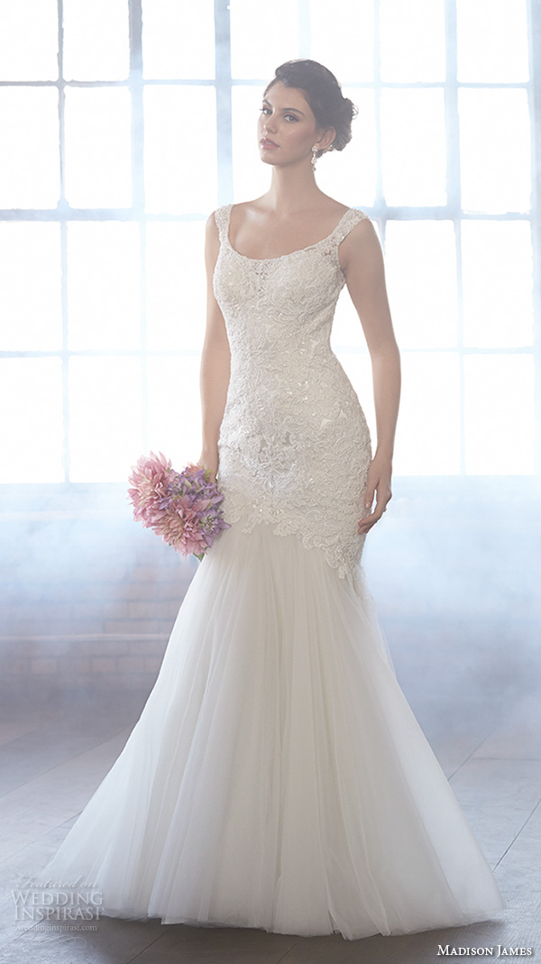 Madison James Fall 2017 Bridal Sleeveless Scoop Neckline Lace Embroidery Bodice Tulle Skirt Beautiful Mermaid Wedding