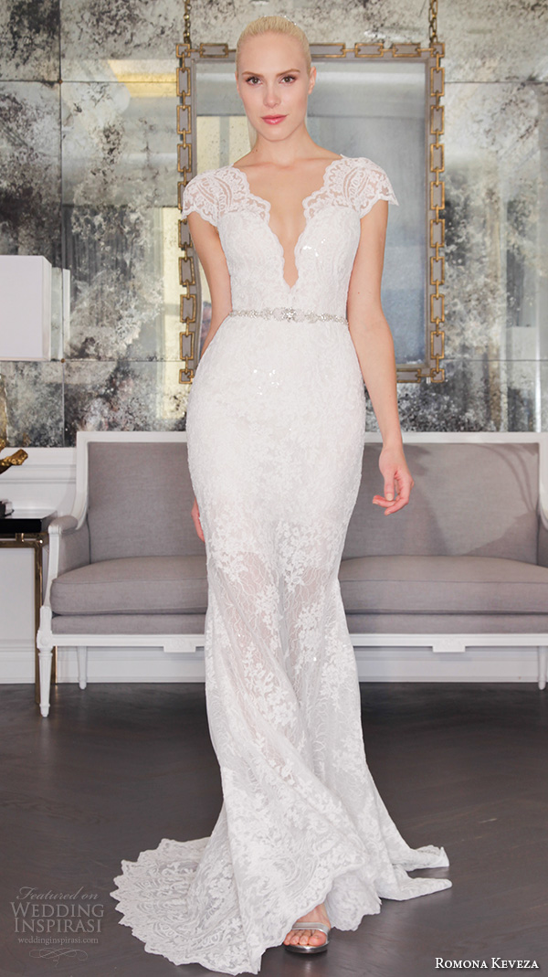 romona keveza fall 2016 luxe bridal deep plunging v neckline cap sleeves lace strap beautiful sheath wedding dress rk6457