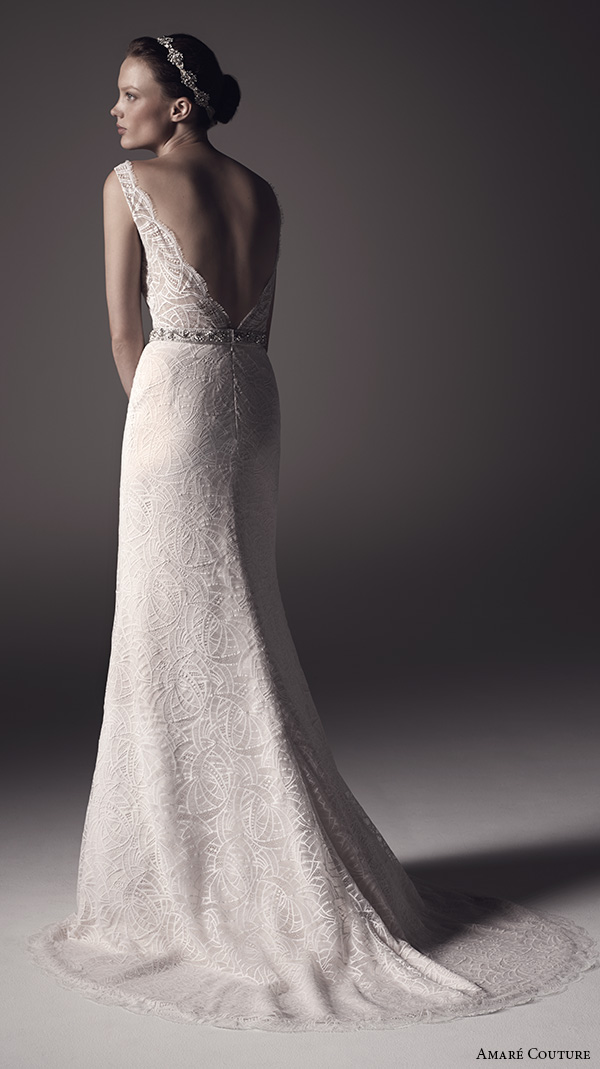 amare couture ss 2016 sleeveless lace strap v neck fully embellished lace sheer bodice sexy fit n flare wedding dress open back v back sweep train (nika) bv