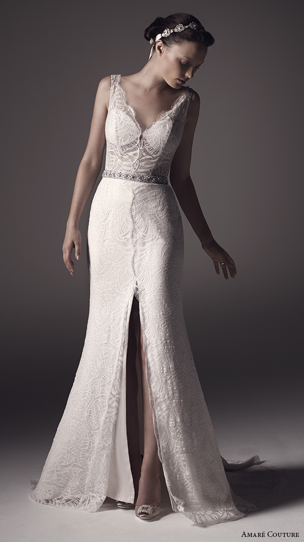 amare couture ss 2016 sleeveless lace strap v neck fully embellished lace sheer bodice sexy fit n flare wedding dress open back v back sweep train (nika) mv