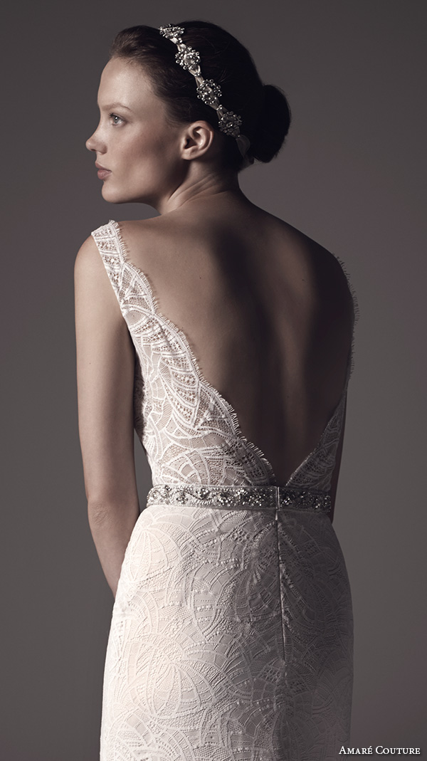 amare couture ss 2016 sleeveless lace strap v neck fully embellished lace sheer bodice sexy fit n flare wedding dress open back v back sweep train (nika) zbv
