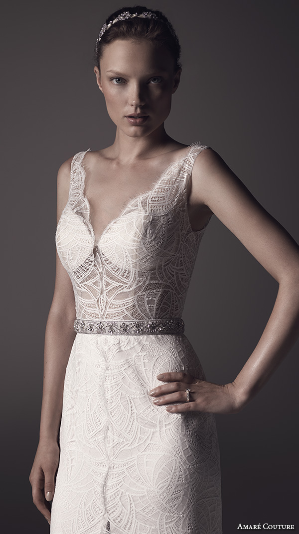 amare couture ss 2016 sleeveless lace strap v neck fully embellished lace sheer bodice sexy fit n flare wedding dress open back v back sweep train (nika) zv