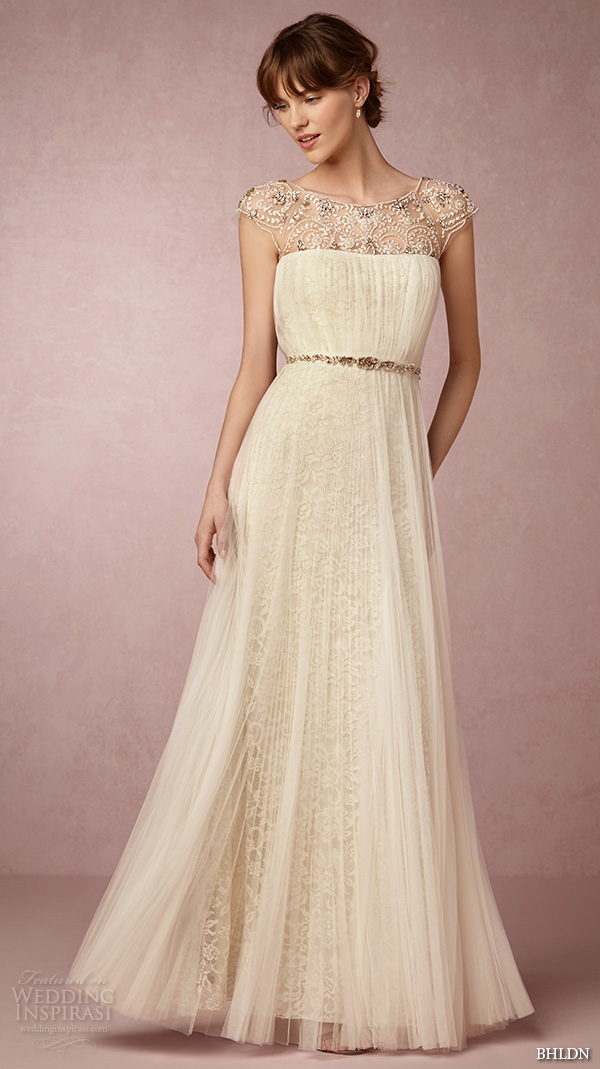 1941143b096 bhldn spring 2016 cap sleeves illusion jewel straight across beaded  neckline vintage romantic tulle a line