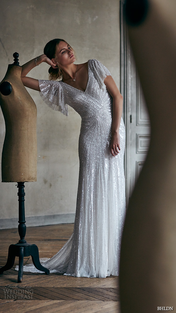 bhldn spring 2016 short flutter sleeves v neckline fully embellished art deco sheath wedding dress v back (cibella) mv