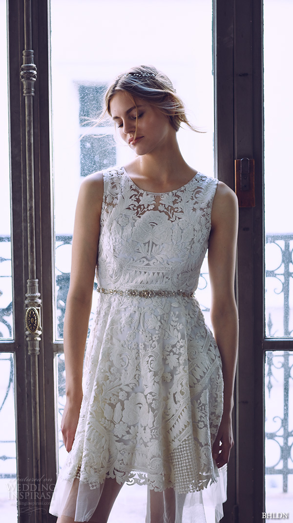 bhldn spring 2016 sleeveless illusion jewel neckline full embellished pretty lace short wedding dress (kiara) mv