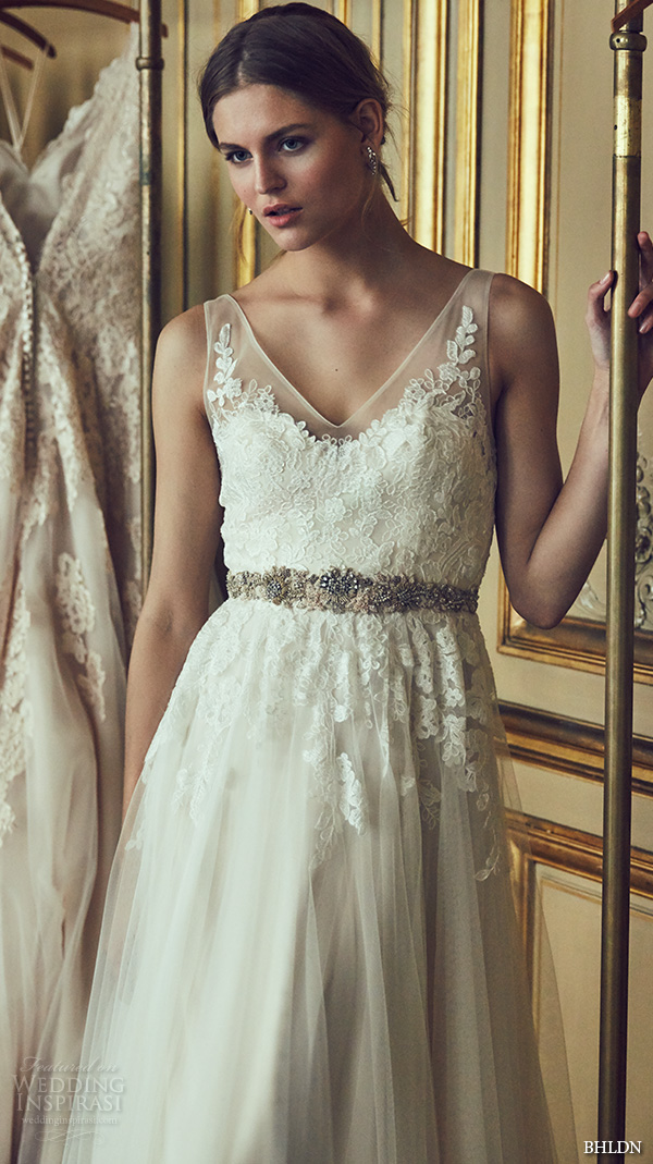 bhldn spring 2016 sleeveless sheer strap v neck embellished bodice tulle skirt pretty a line wedding dress (reagan) mv
