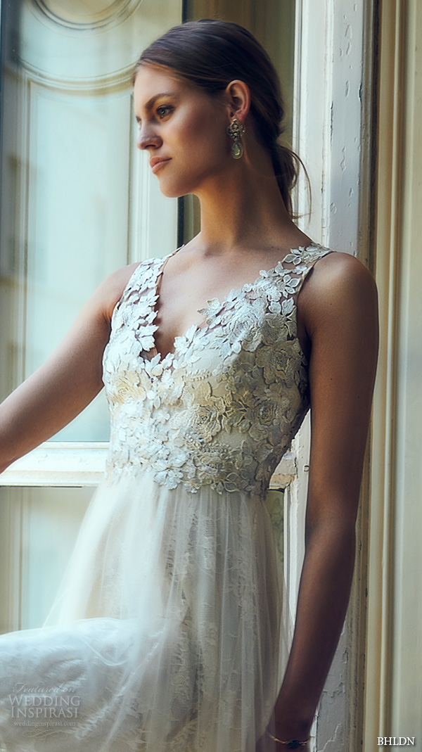 bhldn spring 2016 sleeveless v neck lace strap embellished bodice illusion back lace hem romantic pretty a line wedding dress marchesa (opal)  zm