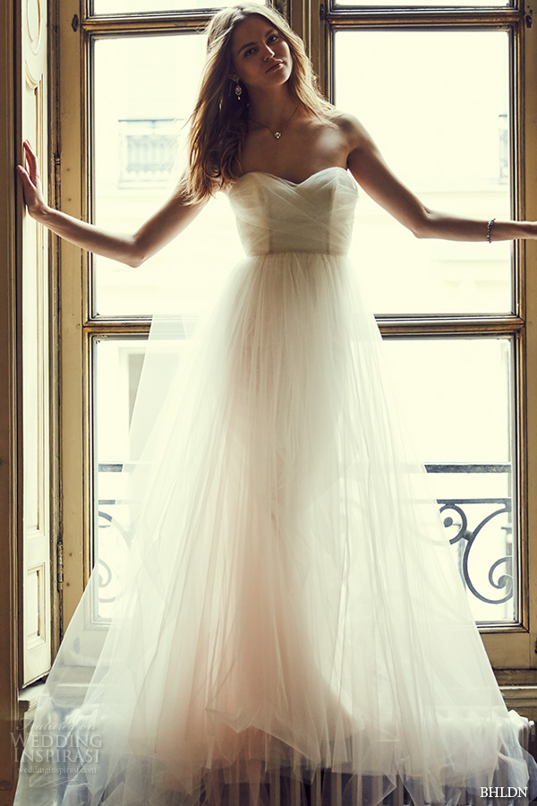 bhldn spring 2016 strapless sweetheart neckline tulle aline ballgown tulle skirt wedding dress style (bella) gown mv