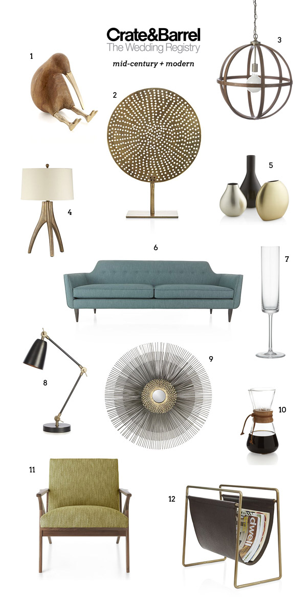 Crate and barrel wedding registry favorites wedding - Mid century modern home decor ...