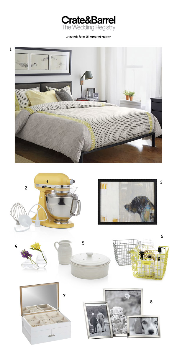 crate barrel wedding registry home decor bedroom gift bedsheet painting frame jewelry box buttercup yellow kitchen aid mixer