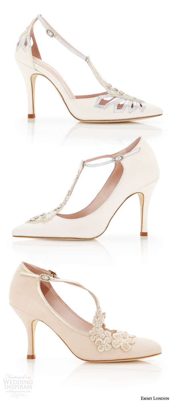 Emmy London White Ivory Blush Wedding Shoes Pointed Toe Almond T Bar Strap Bridal High Heels