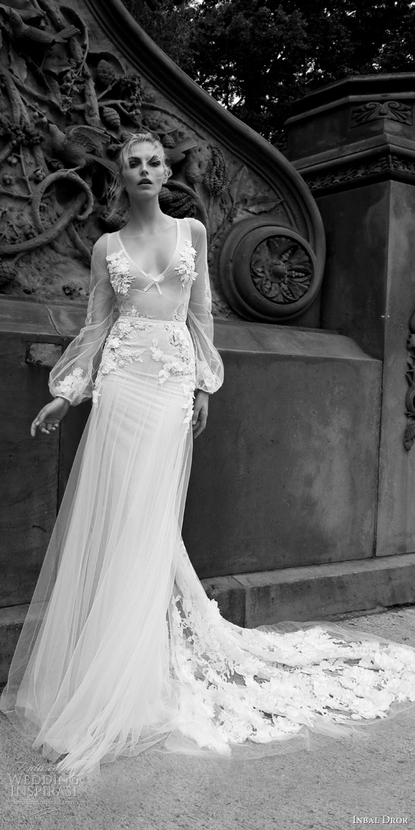 inbal dror 2016 illusion long bishop sleeve v neck sheath lace wedding dress overlay a line skirt style 20 mv applique train