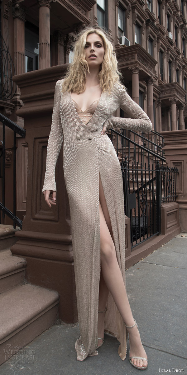inbal dror 2016 long sleeve wrap around v neck button beige color wedding dress bugle bead heavily embellished style 26 mv