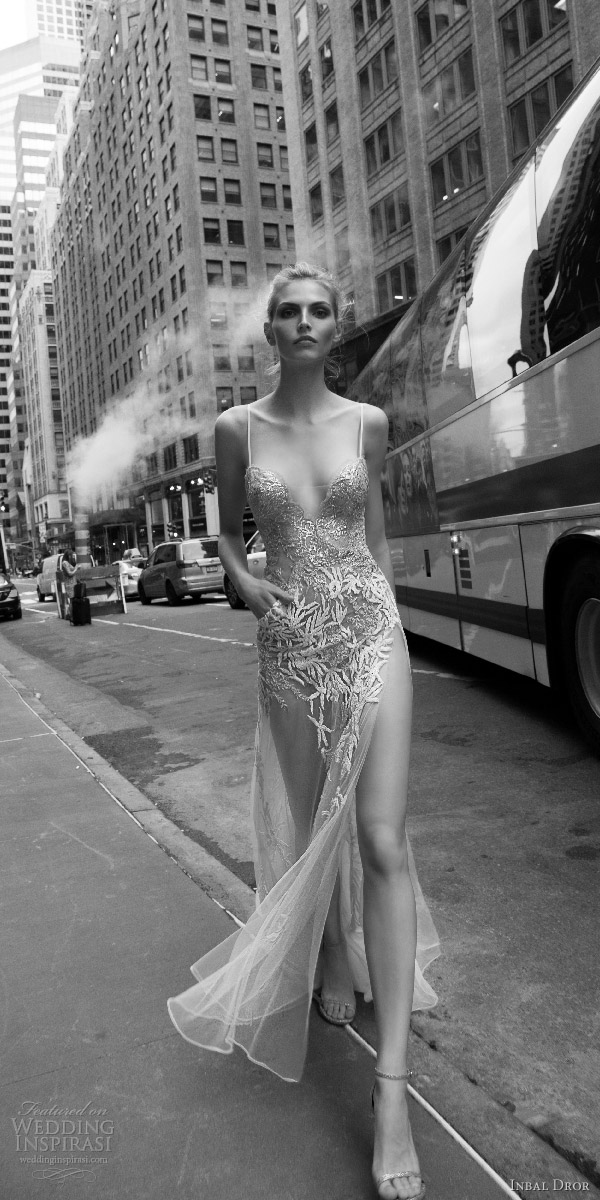 inbal dror 2016 sleeveless sweetheart illusion spaghetti strap sheath wedding dress sexy slit sheer skirt pocket style 03 mv