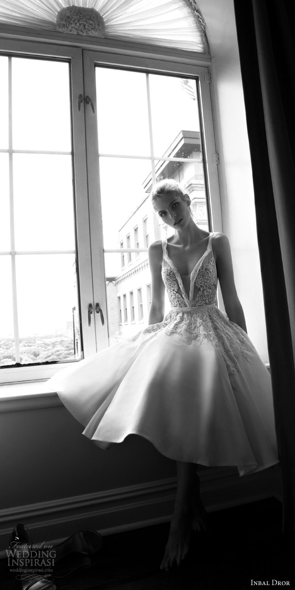 inbal dror 2016 sleeveless thick strap v neck ball gown short wedding dress embellished bodice style 18