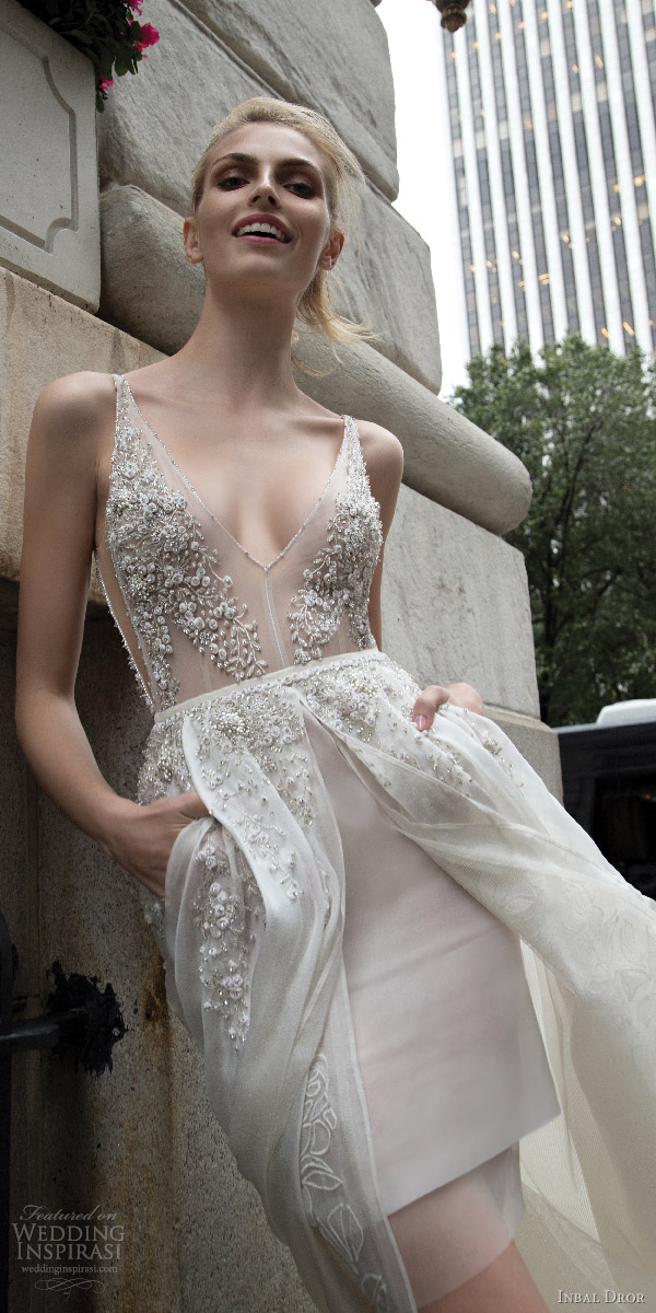 inbal dror 2016 sleeveless v neck illusion strap short wedding dress a line overskirt pocket slit heavily embellished style 11