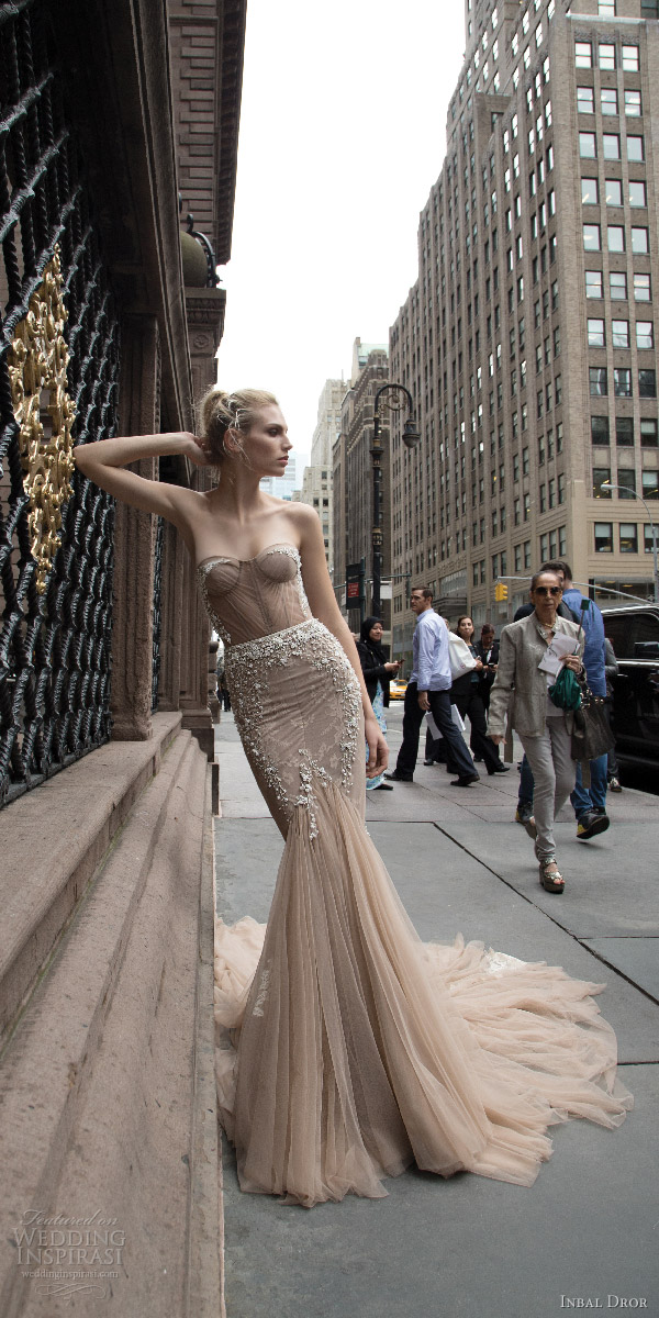inbal dror 2016 strapless sweetheart fit flare mermaid wedding dress taupe color train style 05