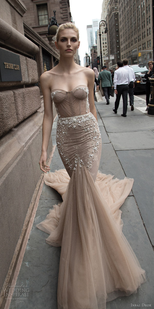 inbal dror 2016 strapless sweetheart fit flare mermaid wedding dress taupe color train style 05 mv