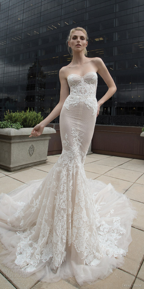inbal dror 2016 strapless sweetheart lace mermaid wedding dress nude style 17 mv train