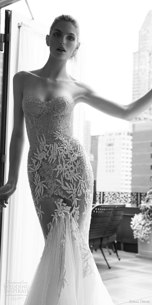 inbal dror 2016 strapless sweetheart mermaid wedding dress heavily embellished bodice style 14