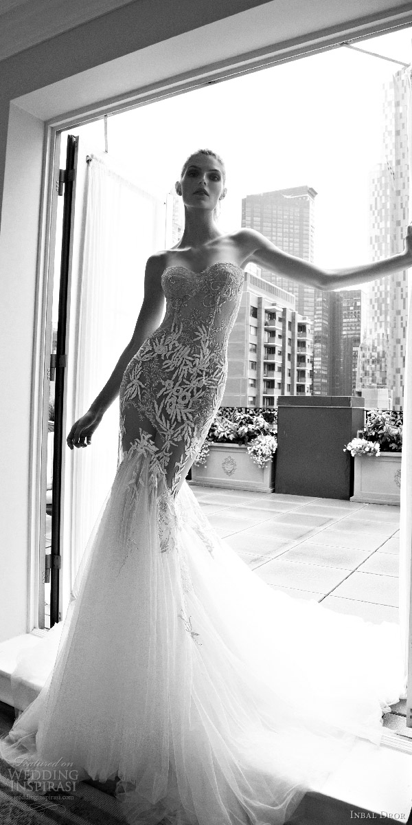 inbal dror 2016 strapless sweetheart mermaid wedding dress heavily embellished bodice style 14 mv