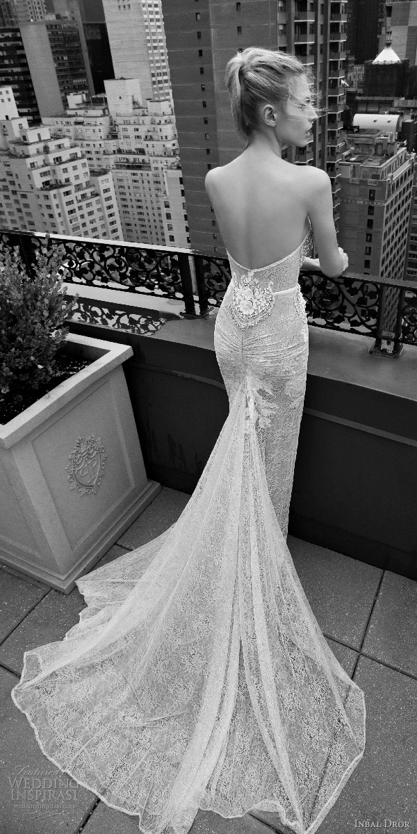 inbal dror 2016 strapless sweetheart sheath lace wedding dress embellished bodice button slit skirt train style 01 bkv