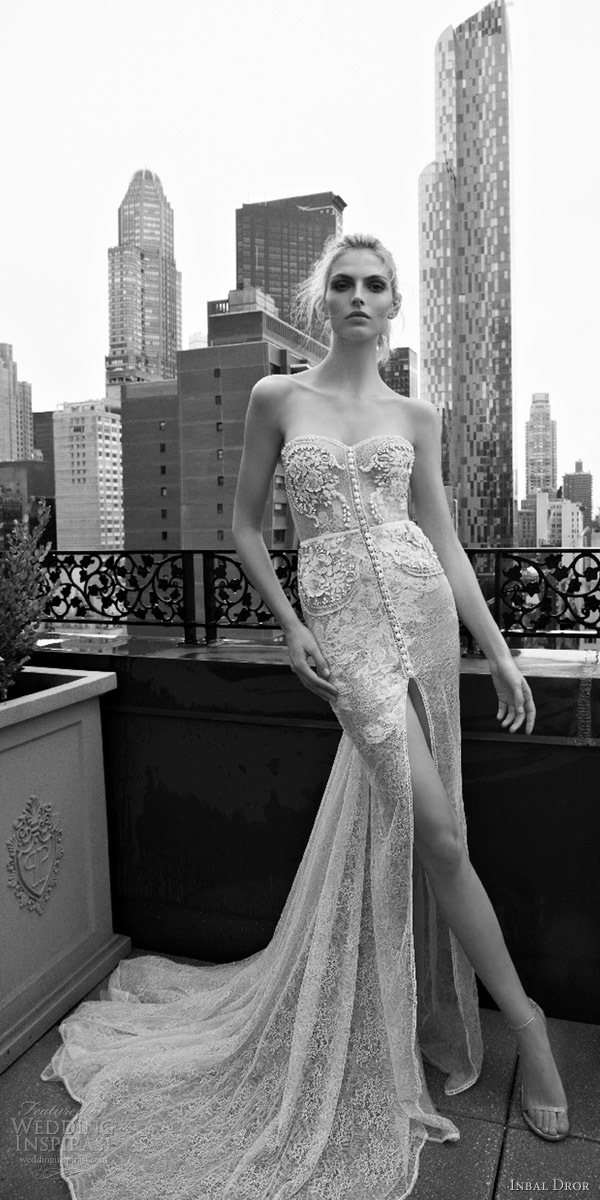 inbal dror 2016 strapless sweetheart sheath lace wedding dress embellished bodice button slit skirt train style 01 mv