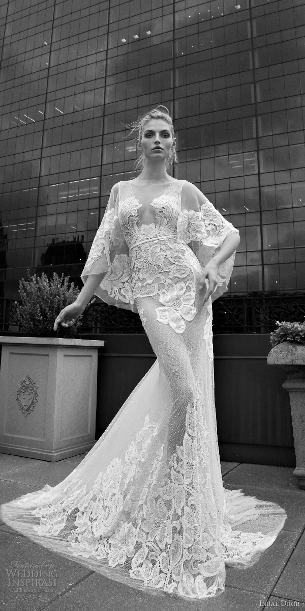 inbal dror 2016 v neck flutter sleeve trumpet sheath lace wedding dress sheer skirt style 12