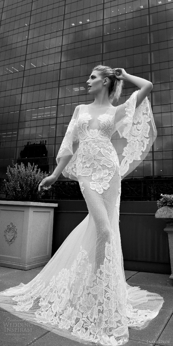 inbal dror 2016 v neck flutter sleeve trumpet sheath lace wedding dress sheer skirt style 12 mv