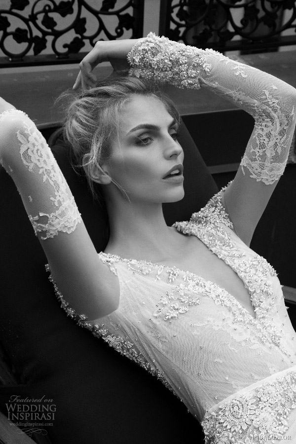 inbal dror 2016 v neck illusion long sleeve trumpet sheath wedding dress style 13