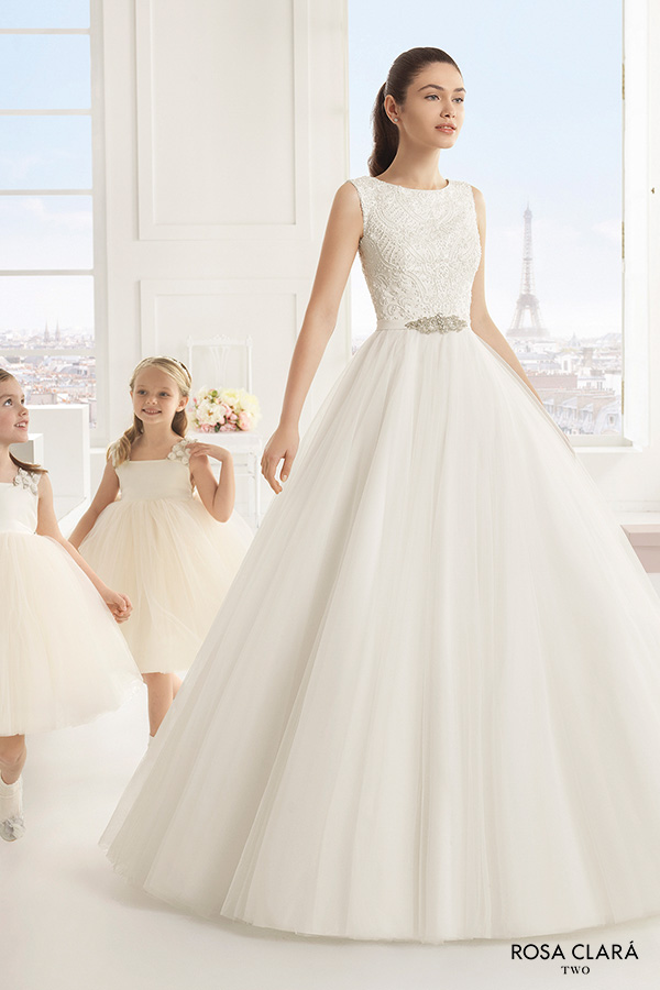 Rosa Clara Two Spring 2016 Sleeveless Boat Neckline Embellished Bodice A Line Ball Gown Wedding