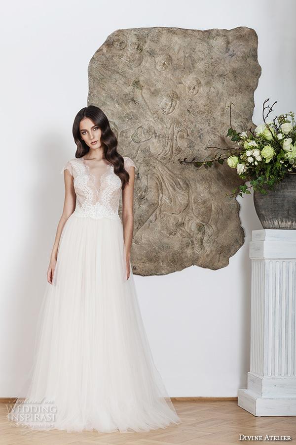 divine atelier 2016 bridal gowns cap sleeves deep v neckline lace bodice tulle skirt romantic a line wedding dress v back brush train (melissa) mv