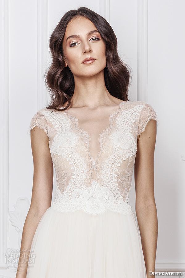 divine atelier 2016 bridal gowns cap sleeves deep v neckline lace bodice tulle skirt romantic a line wedding dress v back brush train (melissa) zv