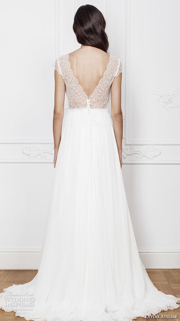 divine atelier 2016 bridal gowns cap sleeves illusion v neck deep plunging sweetheart neckline simple elegant a line wedding dress with middle split v back sweep train (anne) bv